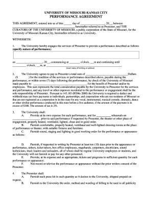 Performance Agreement Form-rev-2004 - Kansas City