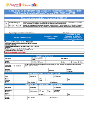 060205 PRO FL CAID Staywell MMA BH Services Req Form For PSR TBOS TCM And  Day