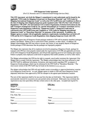 international shipper agreement ups