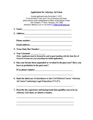 Application For Attorney Ad Litem
