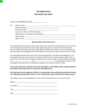 Fillable Online ACE Agribusiness No Known Loss Letter
