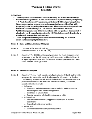 Wyoming 4-H Youth Development Template for 4-H Club Bylaws - uwyo