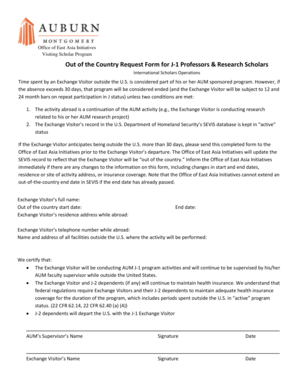 Visiting Scholar Program Out of the Country Request Form