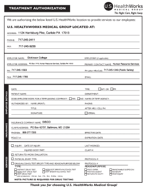 Fillable Online dickinson Treatment authorization form R ...