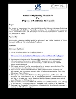 Fillable Online drexel Standard Operating Procedures For