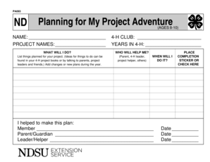 ND Planning for My Project Adventure - NDSU - ndsu