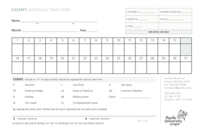EXEMPT SCHEDULE TIME CARD VACATION V FLOATING HOLIDAY - pacificu
