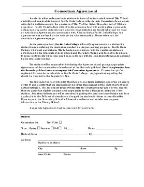 Consortium Agreement Form   Pacific Oaks College  Indemnity Agreement Template