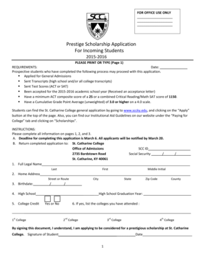 Prestige Scholarship Application For Incoming Students