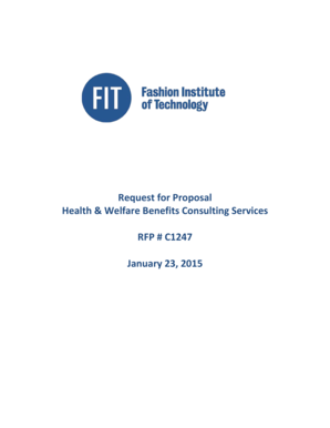 Request for Proposal Health Welfare Benefits Consulting - fitnyc