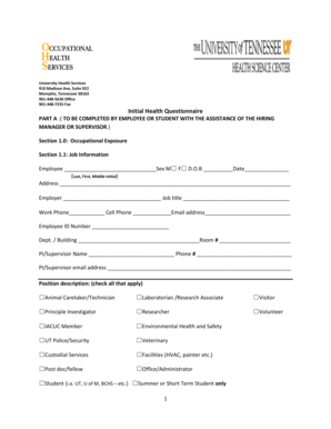 Fillable Online uthsc Initial Health Questionnaire TO BE