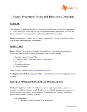Payroll Procedure Forms and Timesheets Deadlines