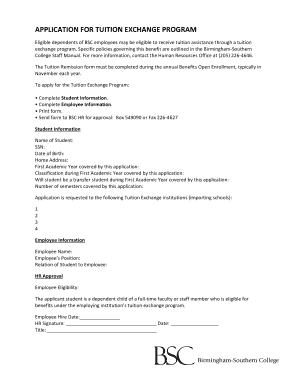 application for tuition exchange program bscedu