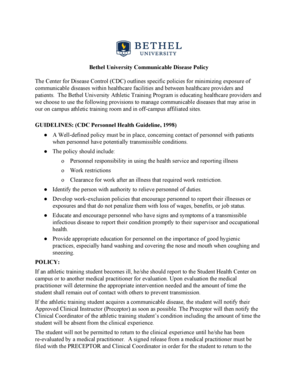 Bethel University Communicable Disease Policy - bethel