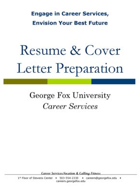 Resume Cover Letter Preparation - George Fox University - georgefox