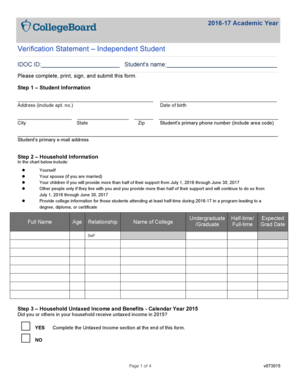 Fillable Online 1617 IDOC Verification Worksheet - Independent ...