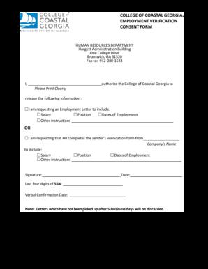 Employment Verification Form Ccgaedu