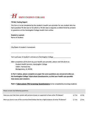 Tb Skin Testing Report 2015 Huntingdon College Fill Online