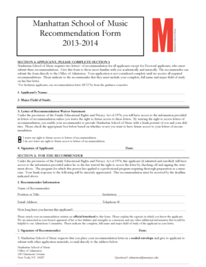 Manhattan School of Music Recommendation Form 2013-2014