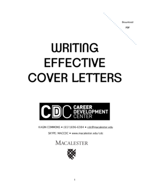 Fillable Online macalester PDF WRITING EFFECTIVE COVER ...