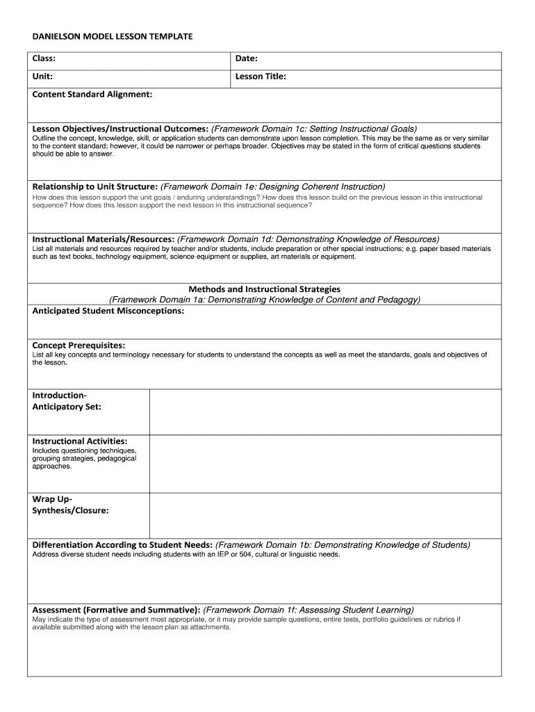 Danielson Model Lesson Template Fill Online Printable Fillable Blank Pdffiller
