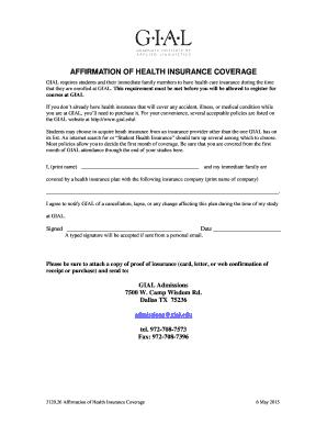 affirmation of health insurance coverage gialedu