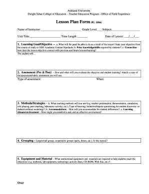 Fillable Online Lesson Plan Form 806 - Ashland University Fax ...