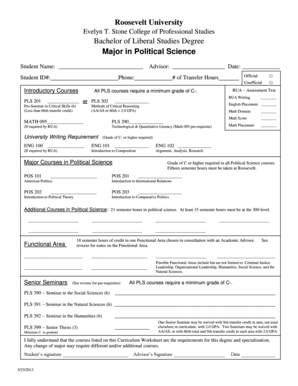 Roosevelt University Email >> Fillable Online Major In Political Science Roosevelt