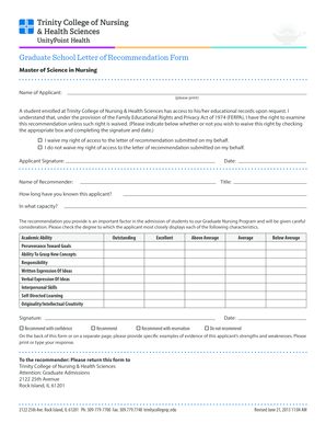 30 Printable Graduate College Letter Of Recommendation Forms