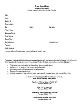 Fillable appeal letter format for college - Edit Online