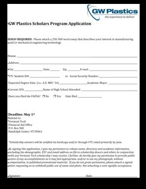Fillable Online vtc GW Plastics Scholars Program Application