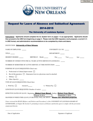 Request for Leave of Absence and Sabbatical Agreement
