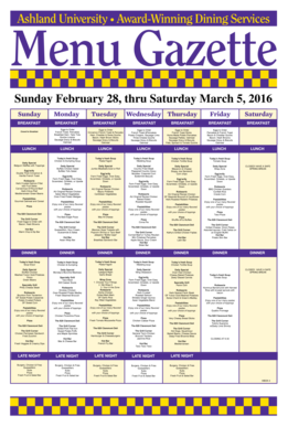Ashland University Award-Winning Dining Services Menu Gazette