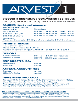 Fillable Online DISCOUNT BROKERAGE COMMISSION SCHEDULE Fax