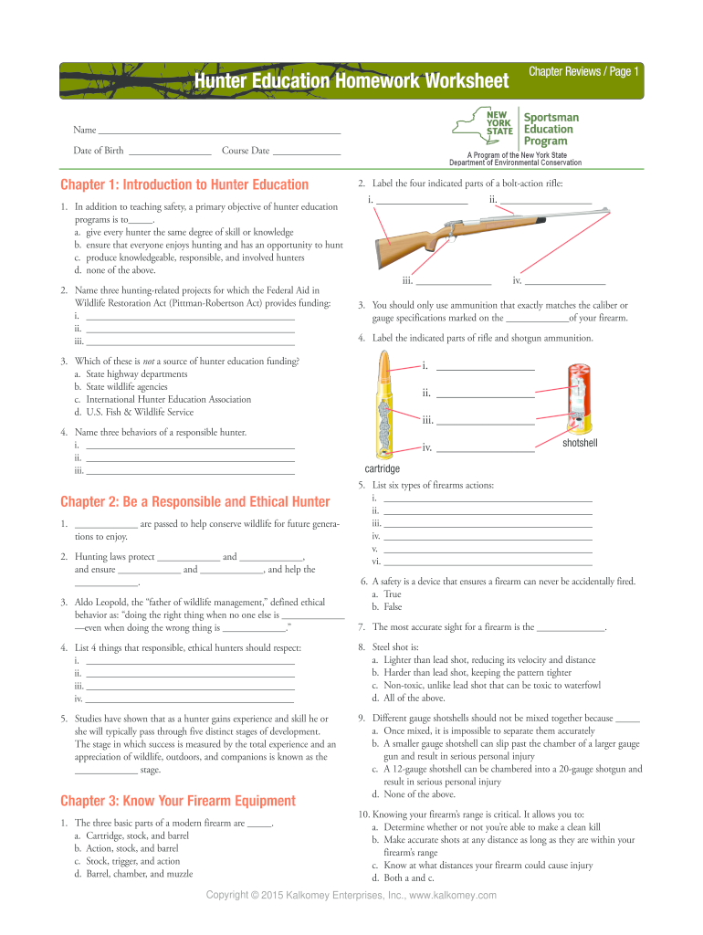 Answers To Hunter Education Fill Online Printable