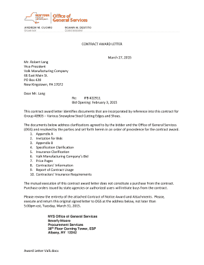letter award of contract printable award of contract letter fill out amp 7761