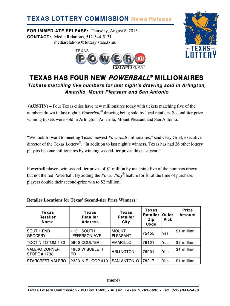 Texas Has Four New Powerball Millionaires Texas Lottery Fill