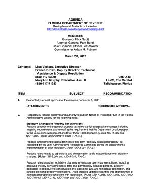 AGENDA FLORIDA DEPARTMENT OF REVENUE MEMBERS Governor Rick