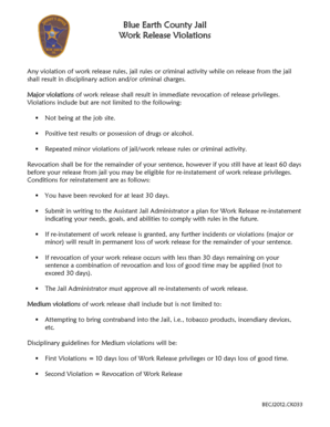 Sample warning letter to employee for not following instructions any violation of these work release rules jail rules or criminal activity while out on work altavistaventures Image collections