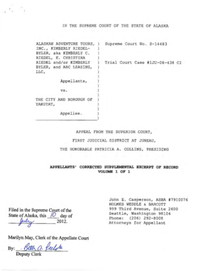 Appellants Corrected Supplemental Excerpt of Record Supreme Court LIVE in Sitka 10292012