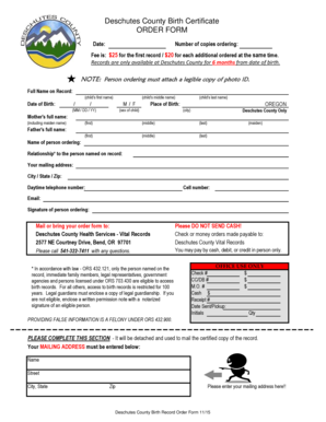 Fillable Online Deschutes County Birth Certificate ORDER ...