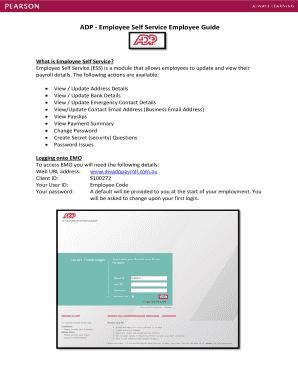 ADP - Employee Self Service Employee Guide Fill Online