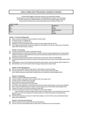 State of Idaho Solar Photovoltaic Installation Checklist