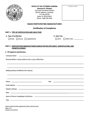 certificate of manufacture template - idaho participating manufacturer certificate of compliance