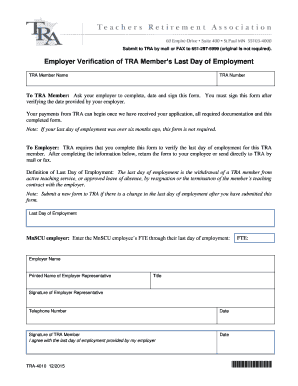 Employment Verification Letter Template Microsoft. Employer Verification  For TRA Members Last Day Of Employment  Employment Verification Letter Template Microsoft