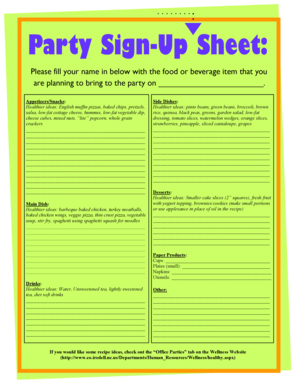 23 printable food sign up sheet forms and templates fillable