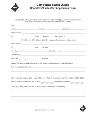 Cornerstone Baptist Church Confidential Volunteer Application BFormb