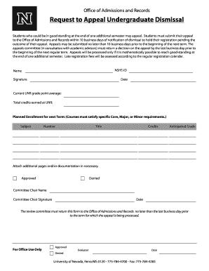 Fillable appeal letter template for dismissal edit online print request to appeal undergraduate dismissal spiritdancerdesigns Images
