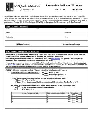 independent verification worksheet ind v1 2015 2016 fill online printable fillable blank. Black Bedroom Furniture Sets. Home Design Ideas