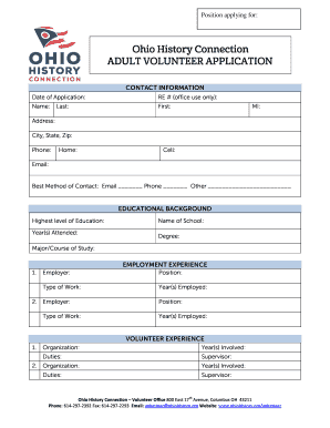 Ohio History Connection Application For Volunteer Program